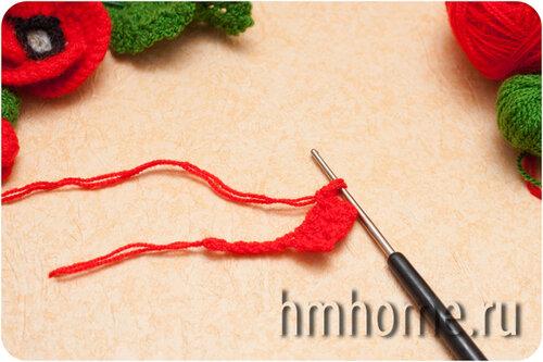 Мастер-класс Брошь из вязаного мака
