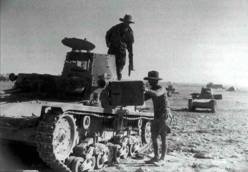Подбитый танк М11/39. Сев. Африка.