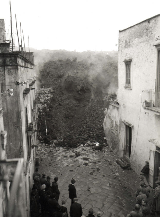 Melvin C. Shaffer  Lava Flow Engulfing a Village to the West of Vesuvius 1944