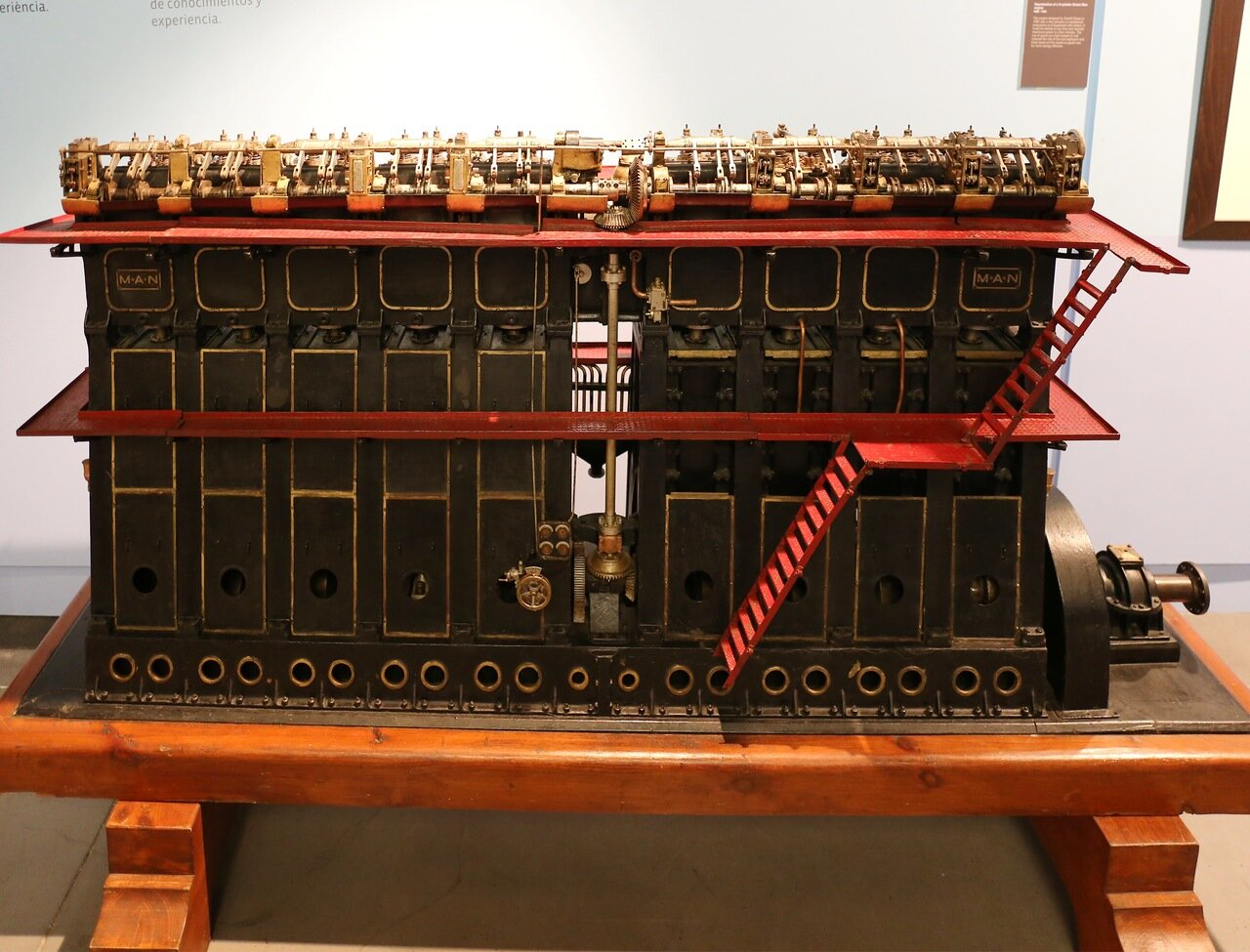 Maritime Museum of Barcelona. The layout of the steam engine