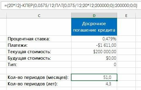 Рис. 2. Вычисление эффекта досрочного погашения кредита