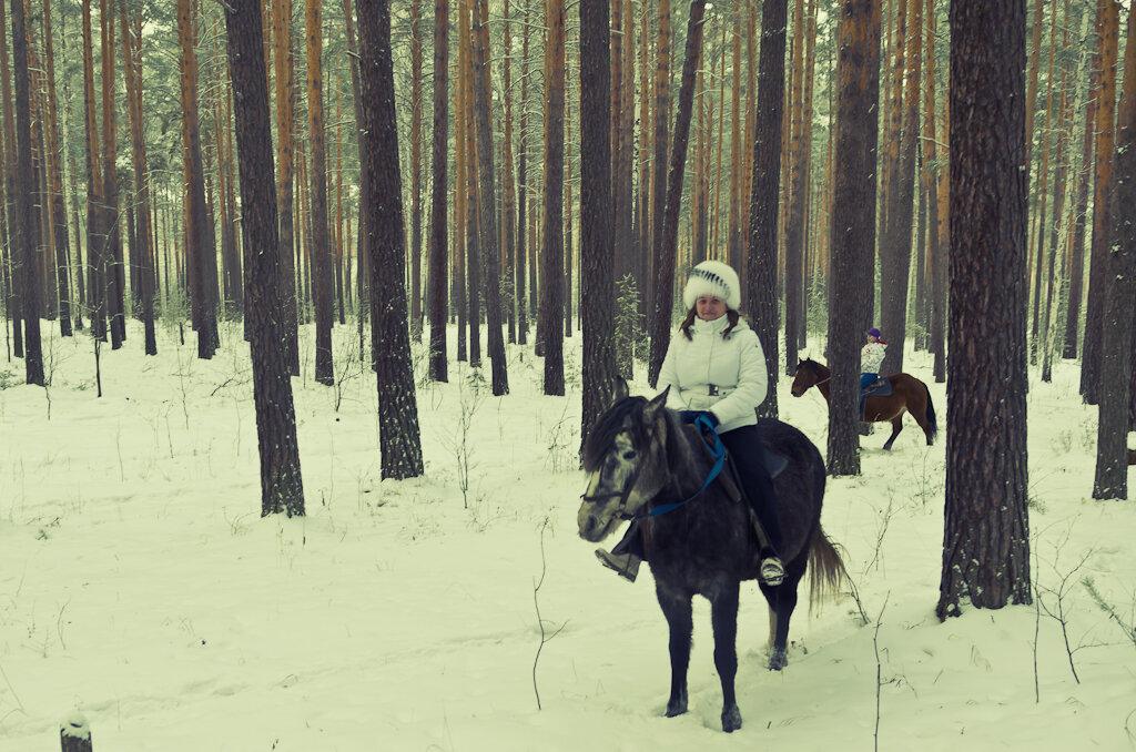 2. Верхом на лошадях по зимнему лесу. Класс!!!