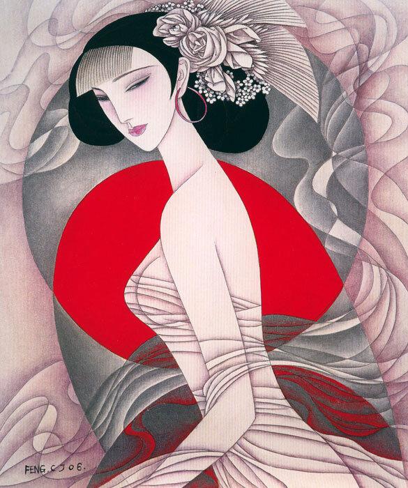 Девушка с восточными глазами И губами, словно мака цвет- Художник  Feng Chang Jiang