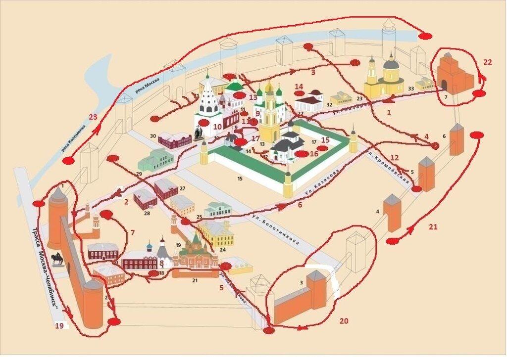 Схема кремля и 23я прогулка