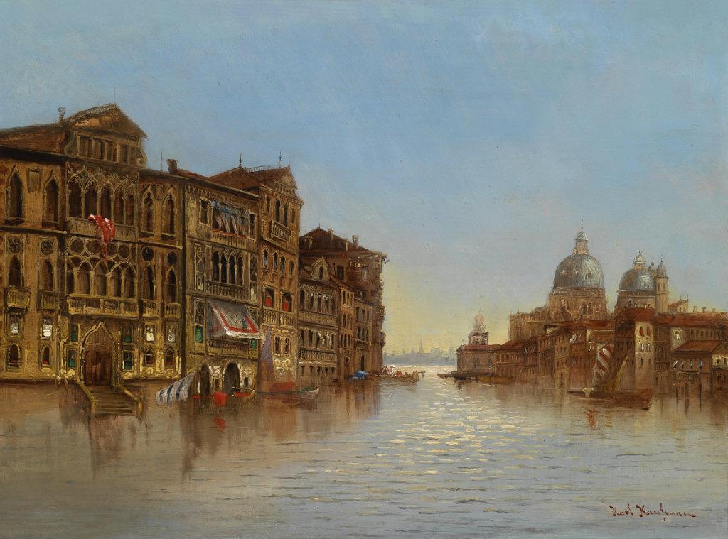 Karl Kaufmann 1843-1905 Scene of Venice with a View of the Santa Maria della Salute