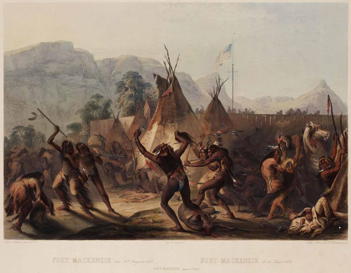Стычка между племенами индейцев у стен Форта Маккензи - Karl Bodmer