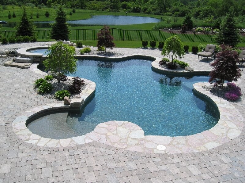 Stony Floor Green Lawn Unique Pool Shape Inground Swimming Pools with Stone Floor