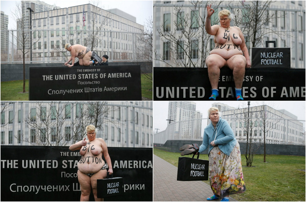 Голая активистка Femen протестовала возле американского посольства в Киеве