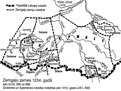 Земгальские земли к моменту раздела в 1254 г.
