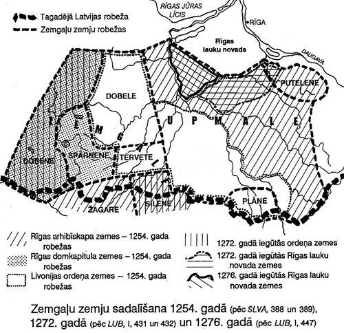 Земгальские земли после раздела