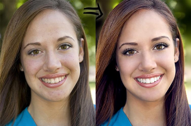 Как убрать блики с лица и сделать выравнивание кожи лица на фото?
