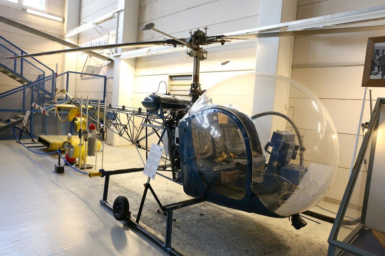 National Finnish aviation Museum Helsinki-Vantaa airport. Bell-47D-1 helicopter