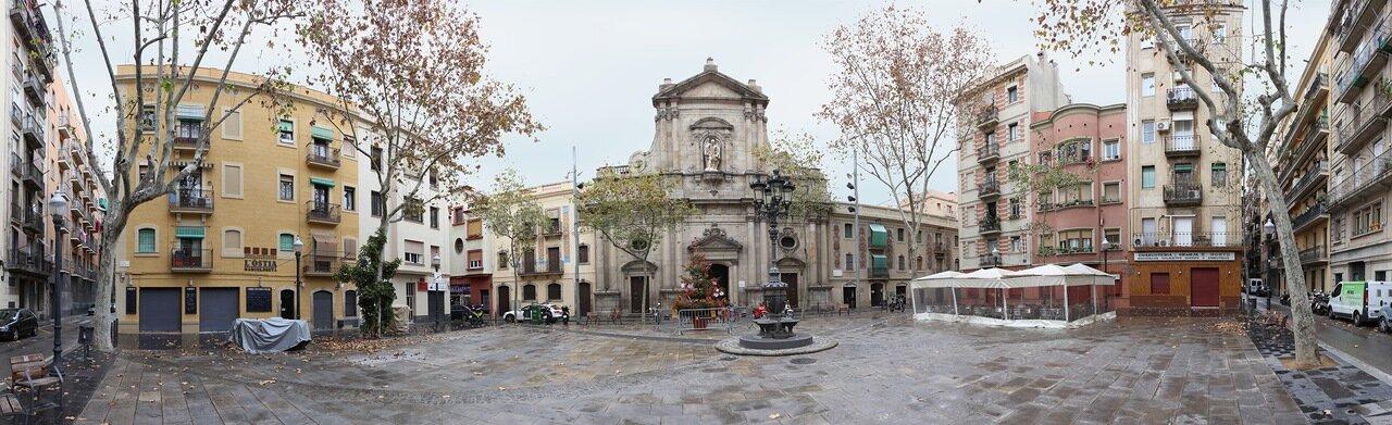 Barcelona. The Square of Barceloneta, the Church of San Miguel del Port (Iglesia San Miguel del Port ) panorama
