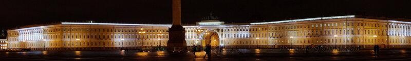 Панорама на Александровскую колонну (1834г) и Главный штаб (1819-1829гг) ночью, Санкт-Петербург