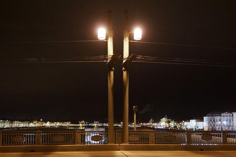 Дворцовый мост ночью, Санкт-Петербург
