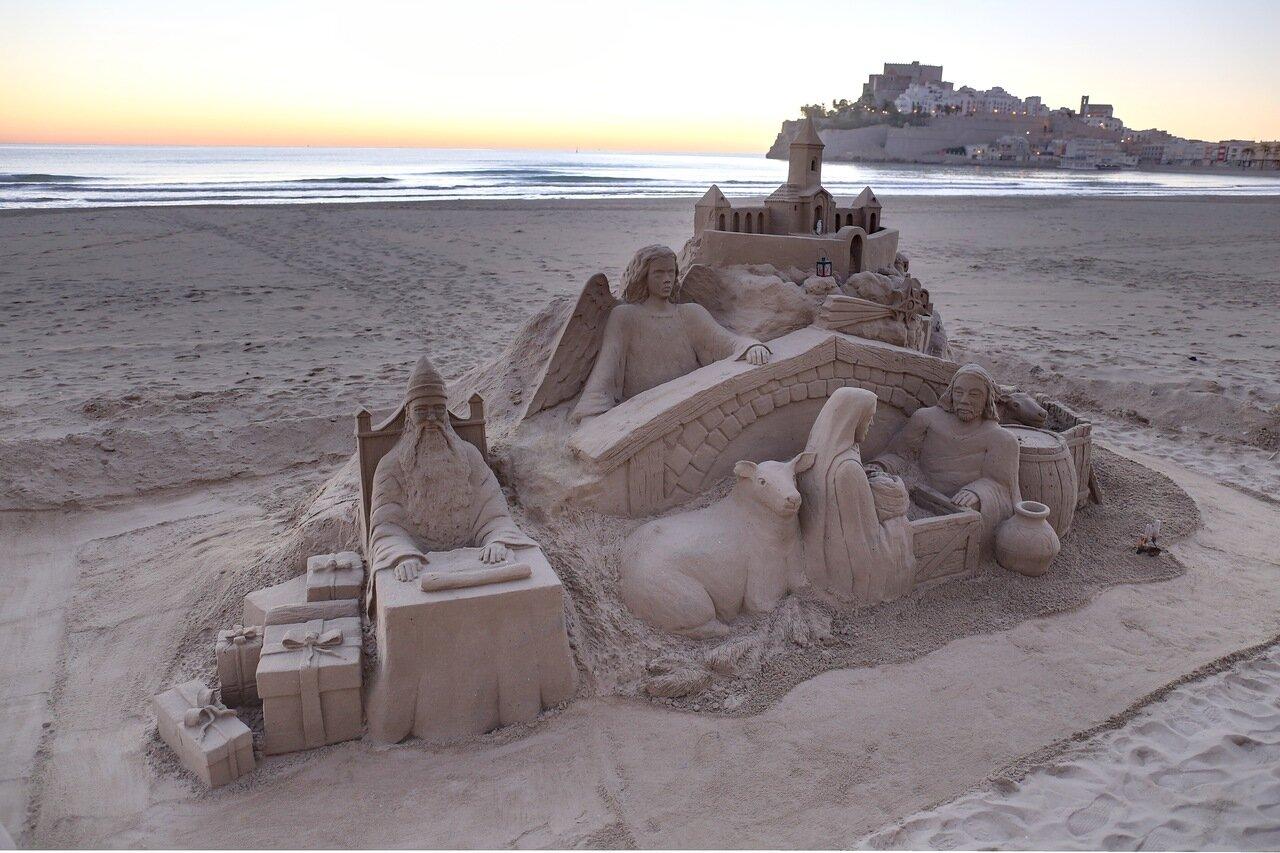 Пеньискола, пляжи, песочный замок. sand castle, Playa Norte de Peñíscola