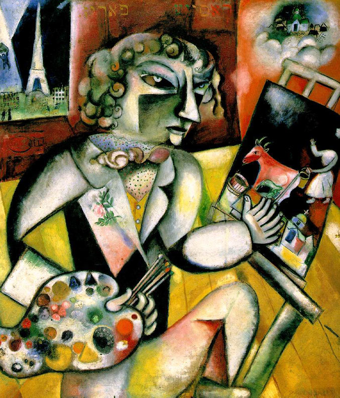 selfie / Self-portrait / Автопортрет с семью пальцами, Марк Шагал / Marc Chagall, 1913