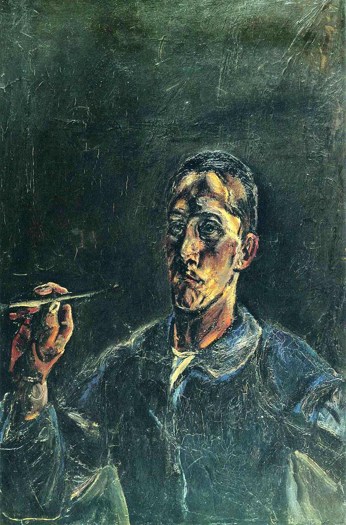 selfie / Self-portrait / Автопортрет с кистью, Оскар Кокошка / Oskar Kokoschka, 1913