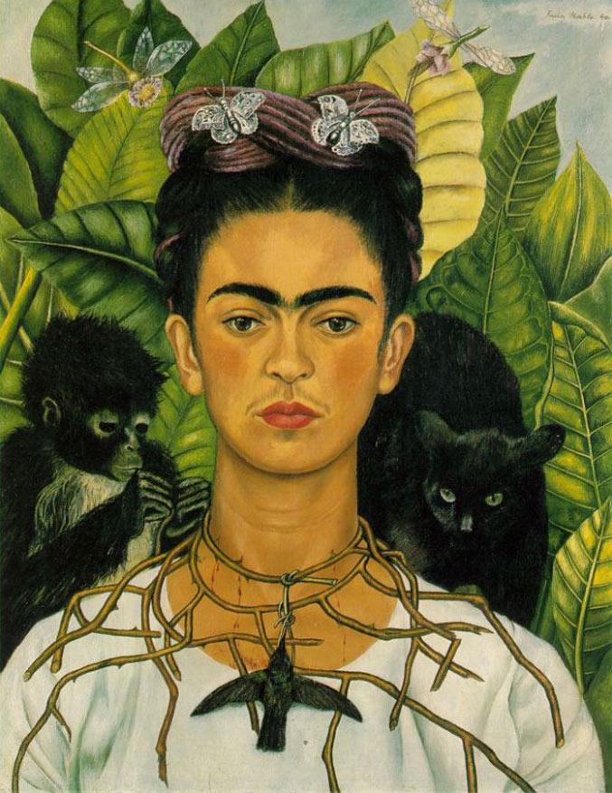 selfie / Self-portrait / Автопортрет с ожерельем из шипов, Фрида Кало / Frida Kahlo, 1940