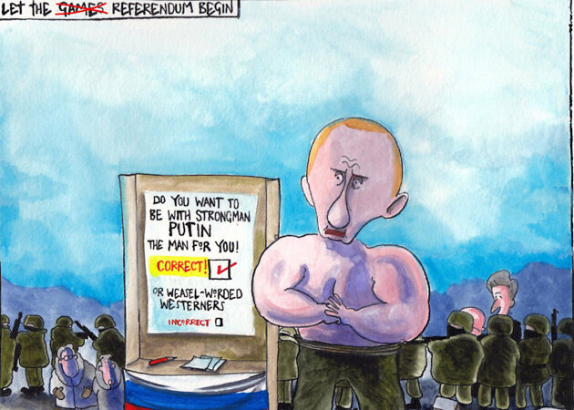 Putin's democratic Crimean referendum — The Scotsman, March 16, 2014 © Iain Green
