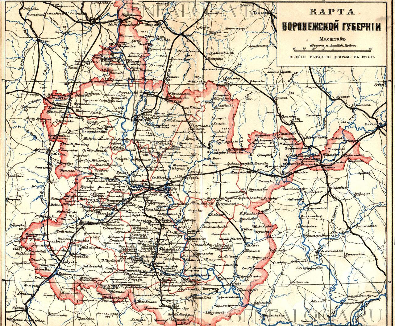 Карта Воронежской губернии конец 19 века