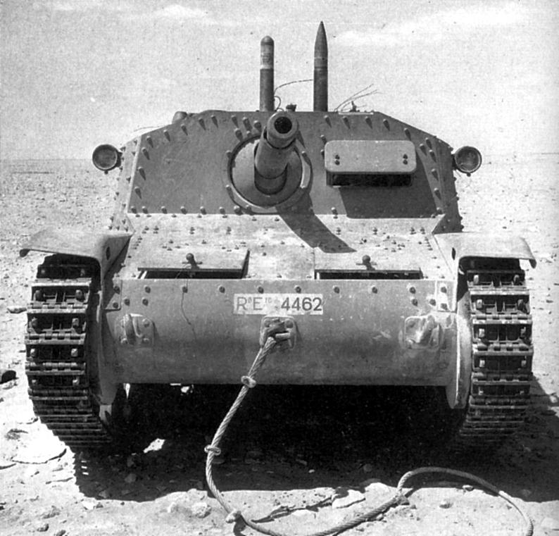 Итальянская СУ Semovente da 75/18 подбитая под Эль Аламейном. 1942г.