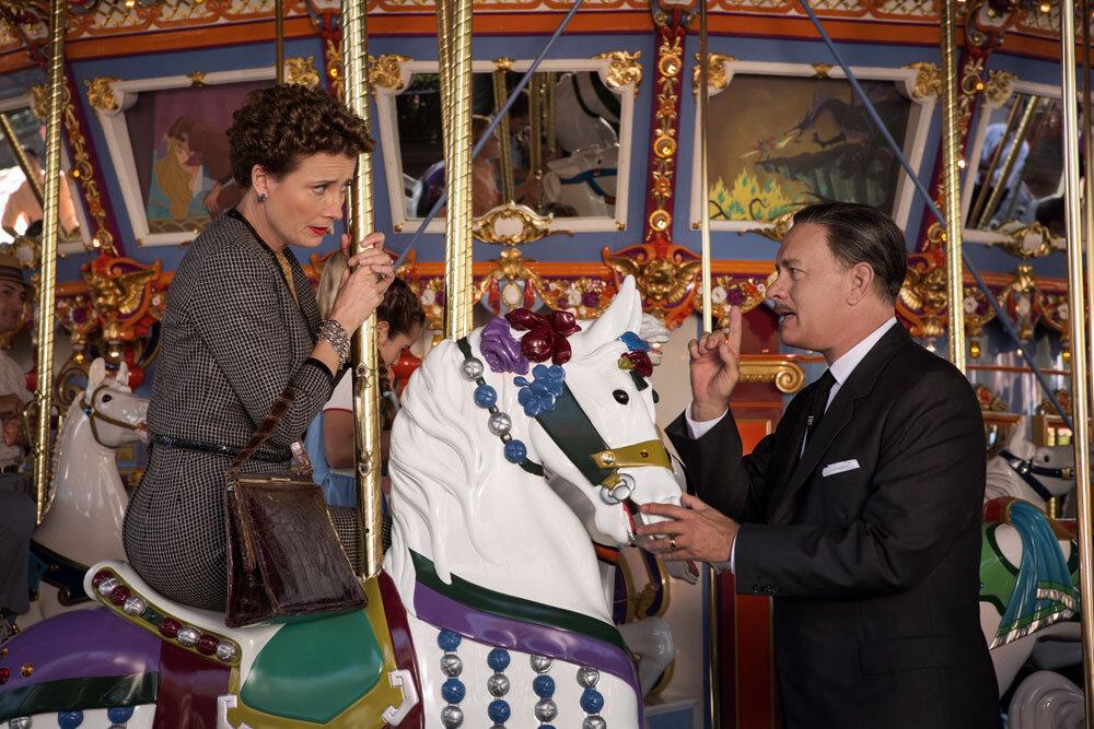 """SAVING MR. BANKS""P.L. Travers (Emma Thompson), left; Walt Disney (Tom Hanks), right, inDisney's ""Saving Mr. Banks"".Ph: François Duhamel©Disney Enterprises, Inc.  All Rights Reserved."
