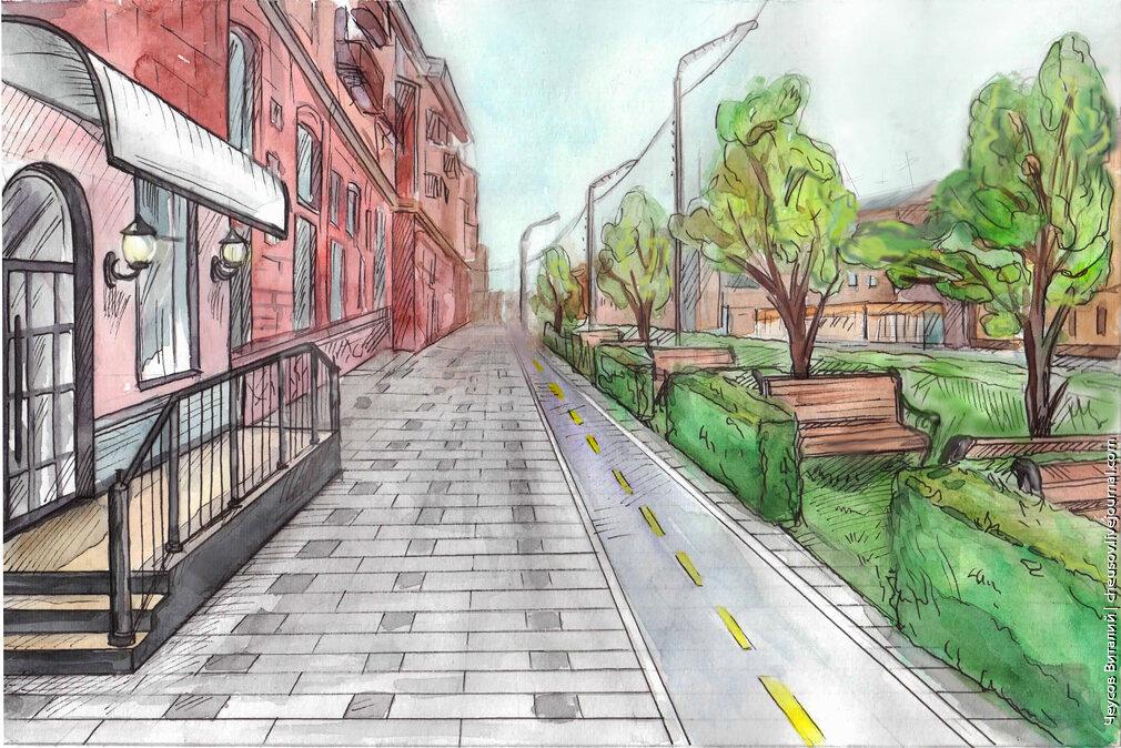 Как рисовать городскую улицу с перспективой