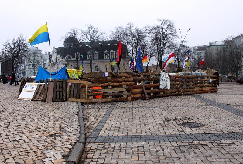 Революционный лагерь на Михайловской площади
