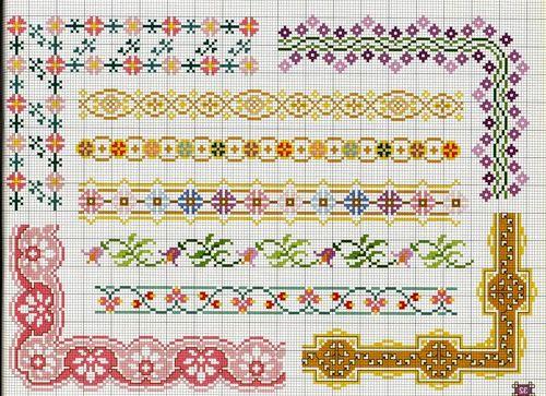 Орнаменты и бордюры, схемы для вышивки крестом