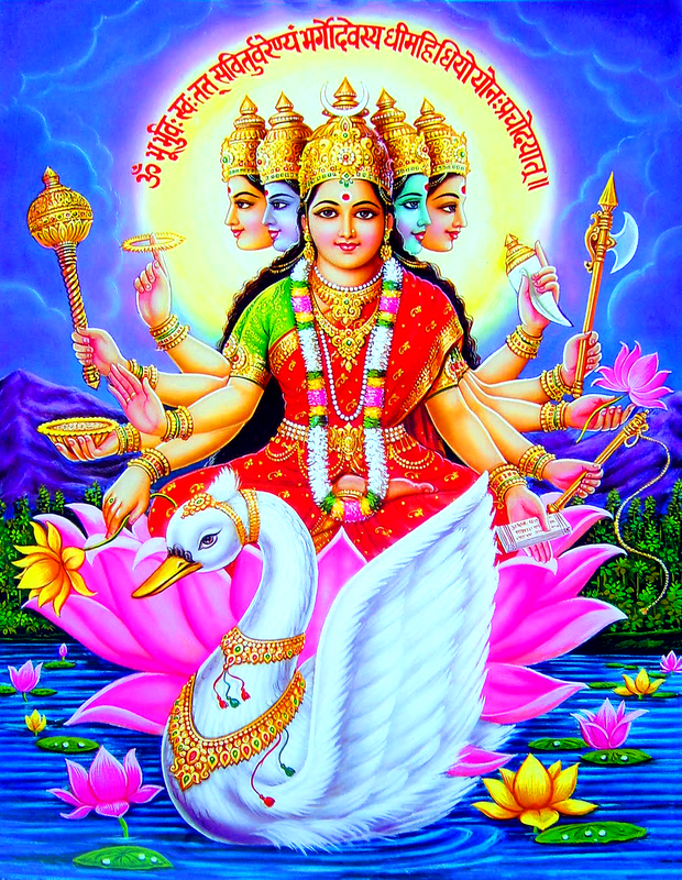 Индийская живопись.Богиня Сарасвати на фоне Шивы, Парвати, Вишну и Лакшми