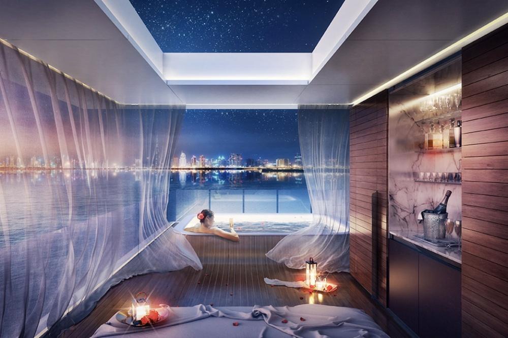 Центральный этаж, находящийся науровне моря,— жилое пространство, место для оборудованной кухни и