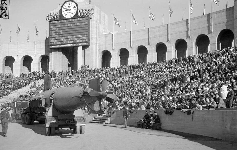 Dec. 12, 1942: Captured Japanese submarine was paraded around the Memorial Coliseum during UCLA USC football game during warbond drive.