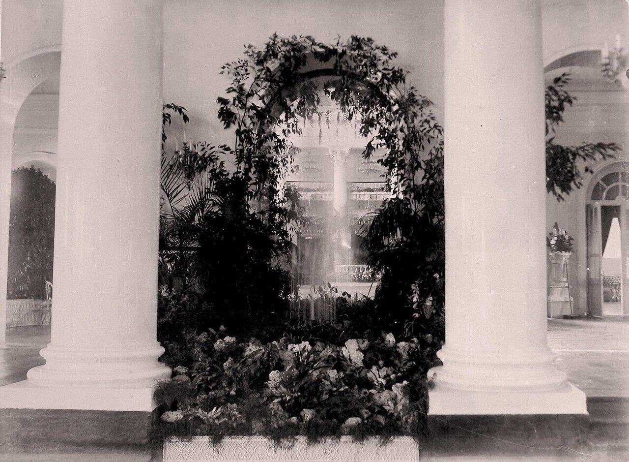 Вид части Колонного зала в здании Благородного (Дворянского) собрания, украшенного к торжествам коронации