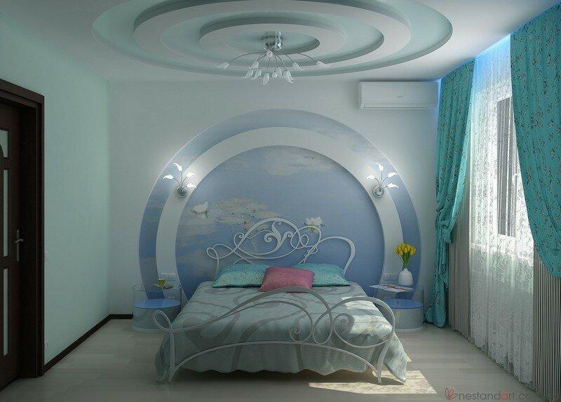 Как сделать спальню из гипсокартона 194