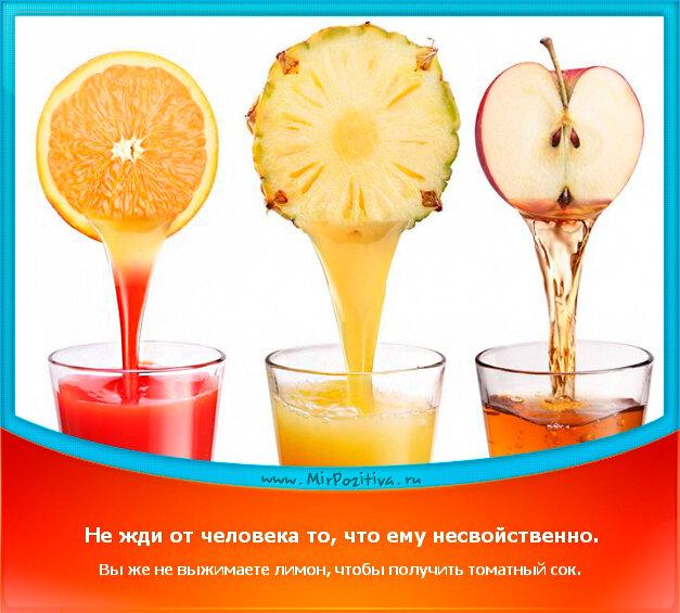 позитивчик дня: Не жди от человека то, что ему несвойственно. Вы же не выжимаете лимон, чтобы получить томатный сок.