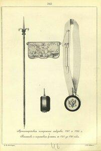 342. Артиллерийская патронная лядунка, 1757 и 1758 г. Пальник и пороховая фляжка, с 1757 до 1761 года.