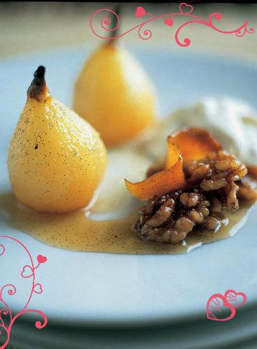 Рецепты ко дню св. Валентина от Джейми! Десерт из груш с ореховым кремом