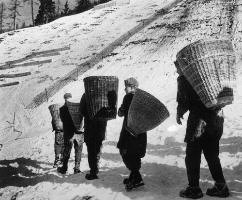 Soldiers Carry Snow
