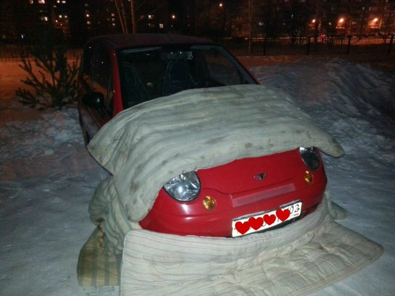 Чтобы машина не мёрзла