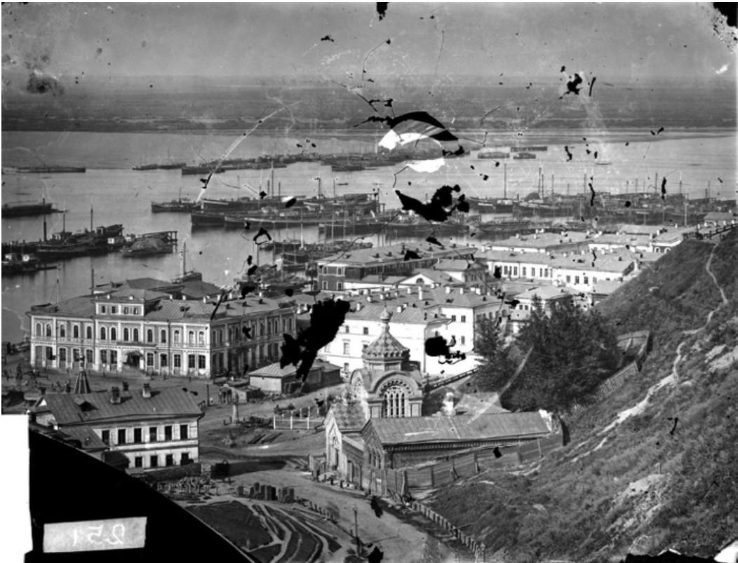 Вид на Похвалинский съезд, Нижний базар и рейд реки Волги