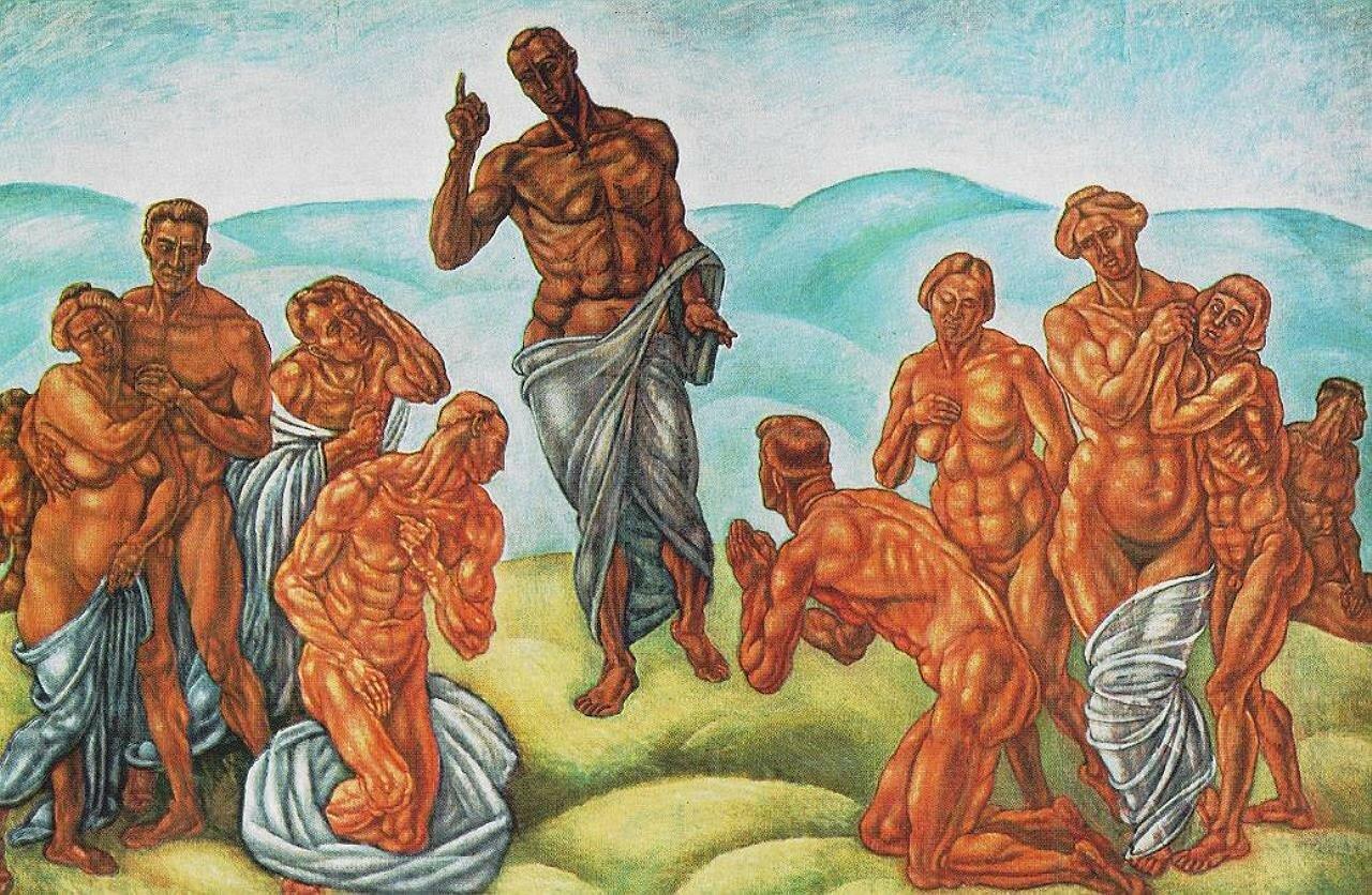 Нагорная проповедь,_1911_ Аллегория, Берталан Пор (1880 - 1964), Венгрия,__Pór, Bertalan - Sermon on the Mountain , __ Allegory, National Gallery  Budapest,  Hungary