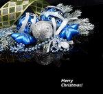 Christmas still life on black background. Shallow DOF.