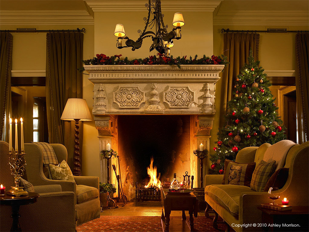 The fireplace in the lobby at Doonbeg Golf & Spa Resort in Co Clare.