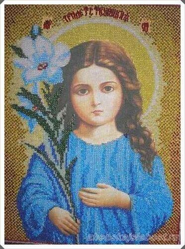хобби Алевтины - вышивка бисером. Богородица