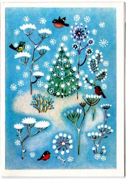 Птицы, елка, снег. С Новым годом! открытки фото рисунки картинки поздравления
