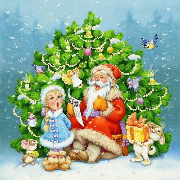 Открытка про песенку новогоднюю