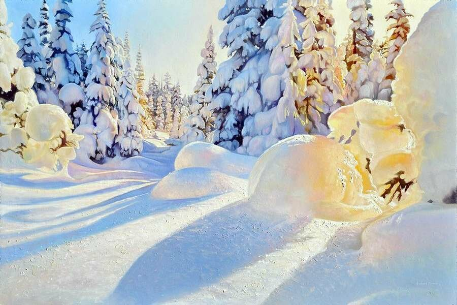 Richard Mravik. Winter glow (oil on panel)