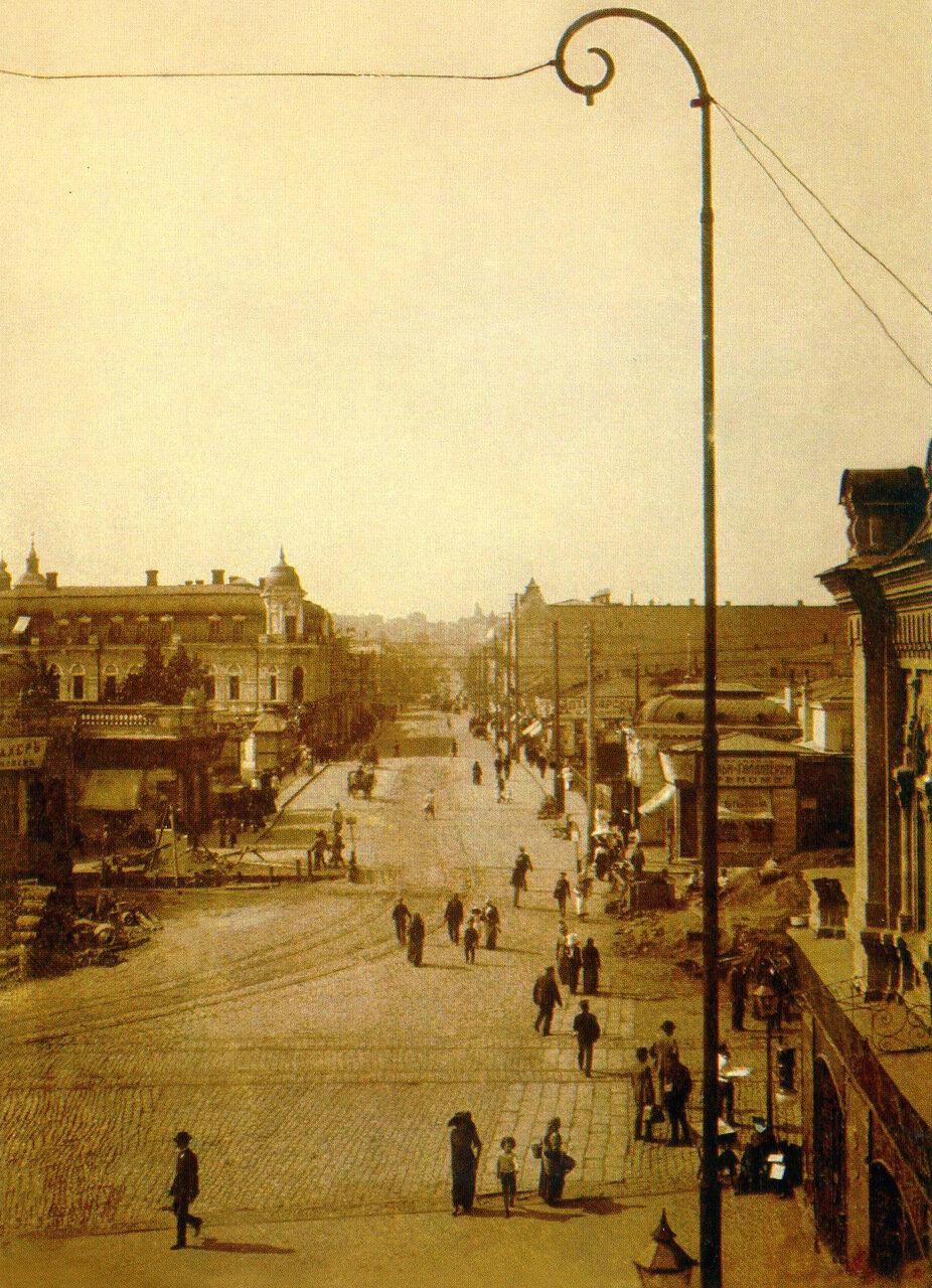 Вид с Университетской горки на Сергиевскую площадь и Екатеринославскую улицу