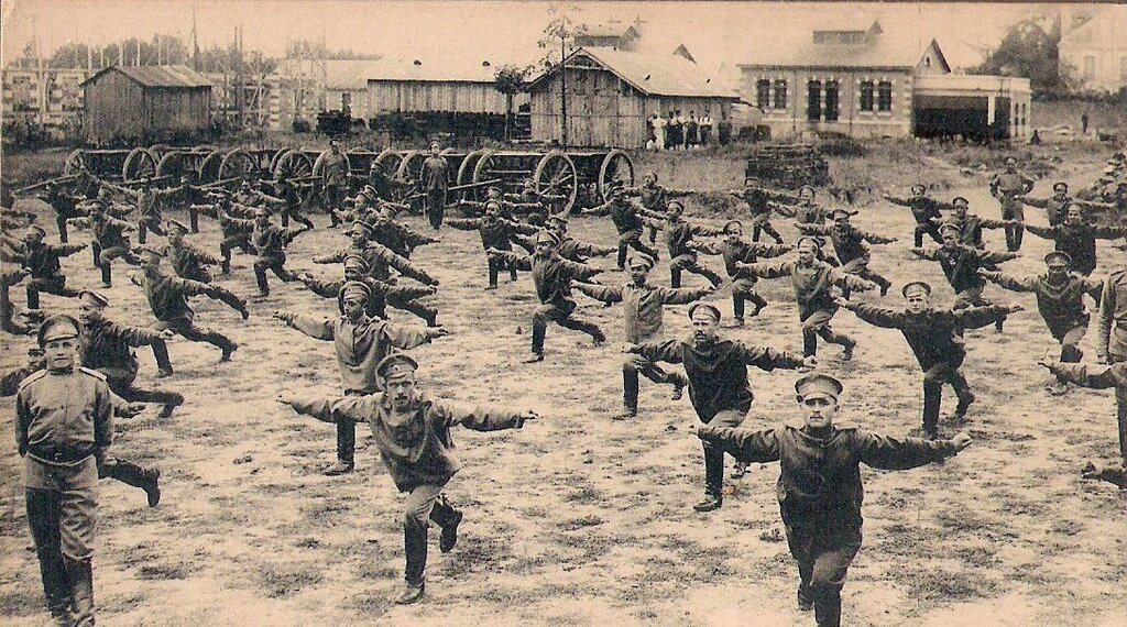 Soldiers of the Russian Army doing Swedish gymnastics, 1900-17